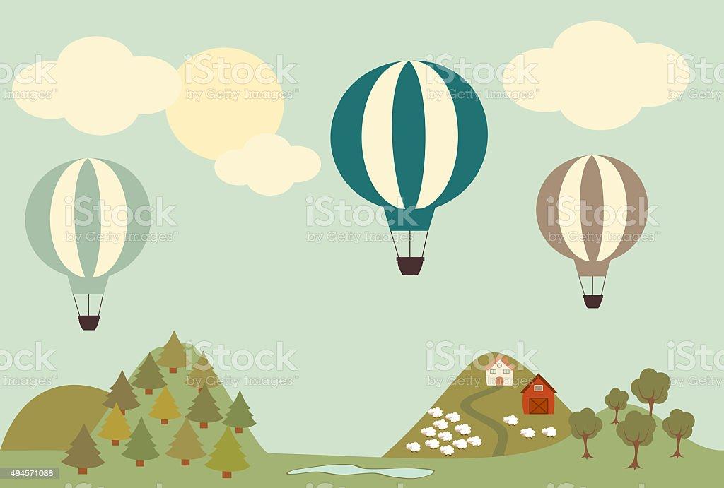 globo aerosttico vintage ilustracin de paisaje de dibujos animados libre de derechos libre de derechos