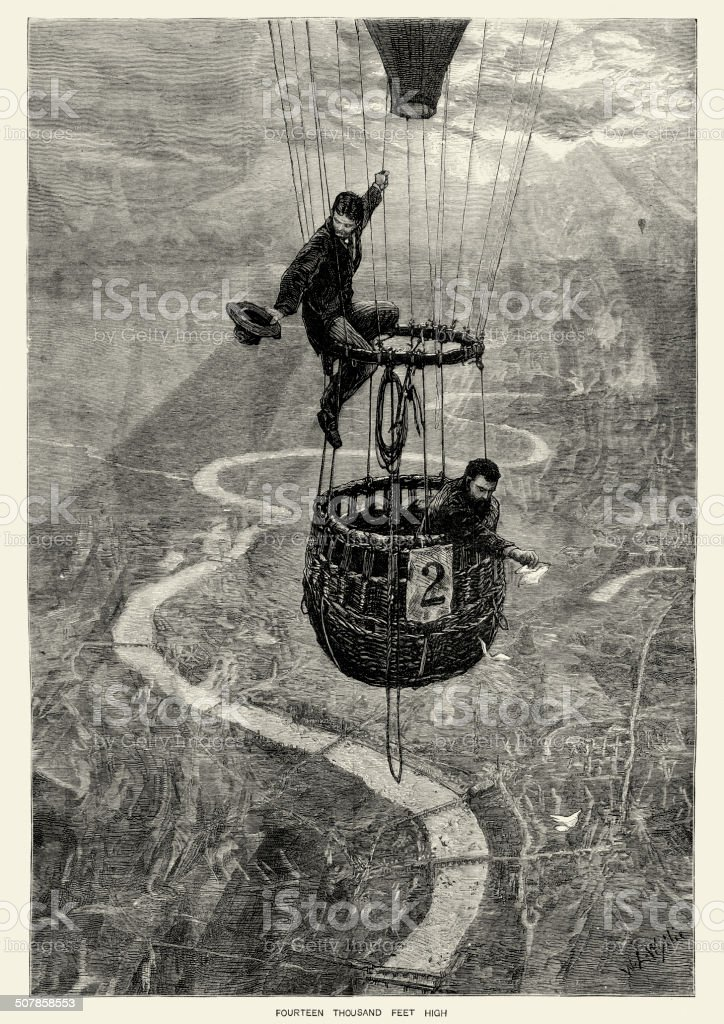 Hot air balloon over London royalty-free stock vector art