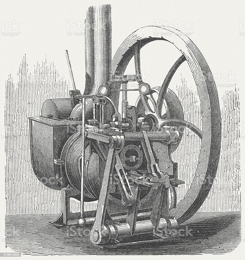 Hot air engine (mid-19th century) by John Ericsson, published 1877 vector art illustration