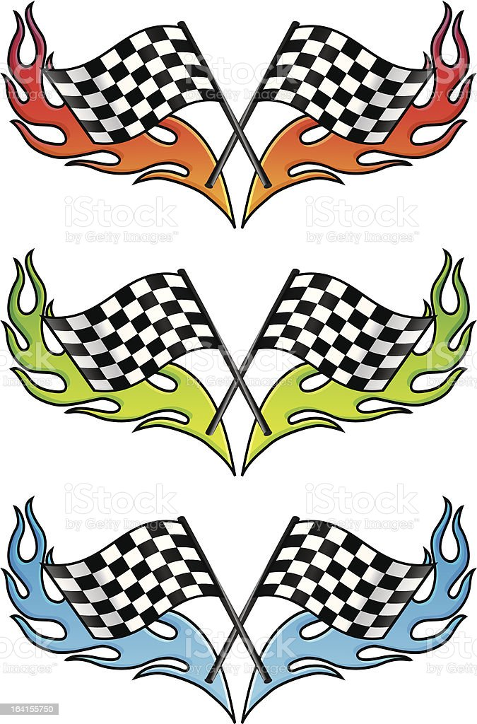 hot checkered flag vector art illustration
