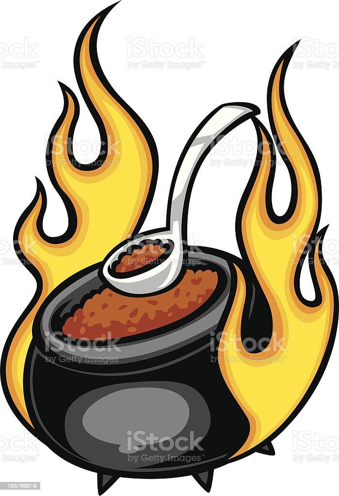 hot chili pot vector art illustration
