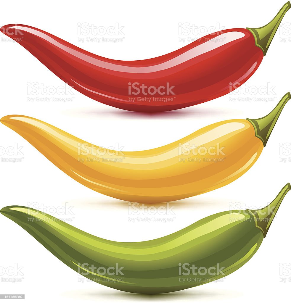 Hot chilli pepper vector set isolated on white background royalty-free stock vector art