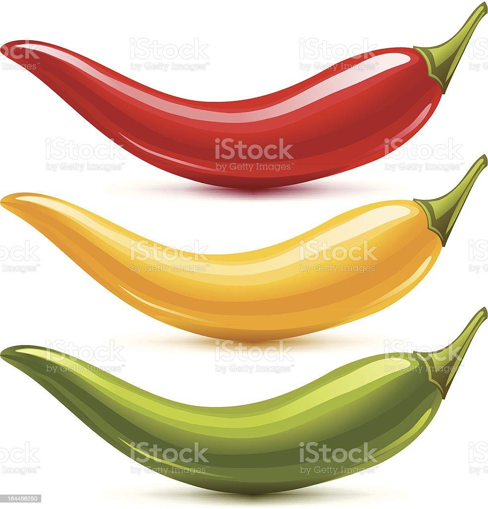 Hot chilli pepper vector set isolated on white background vector art illustration