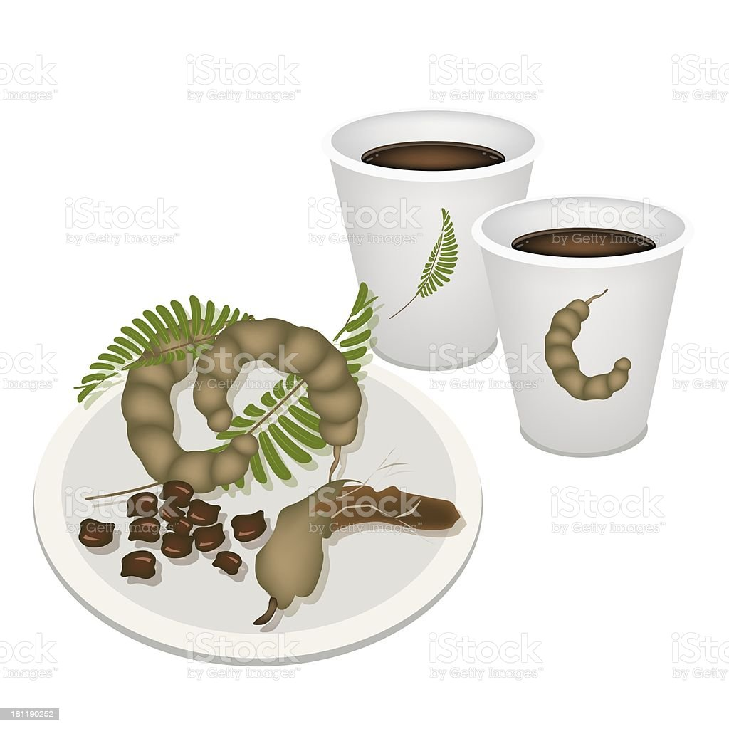 Hot Coffee with Tamarind Pod and Leaves vector art illustration