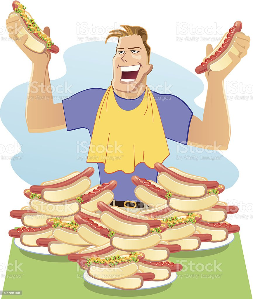 Hot Dog Eating Contest royalty-free stock vector art