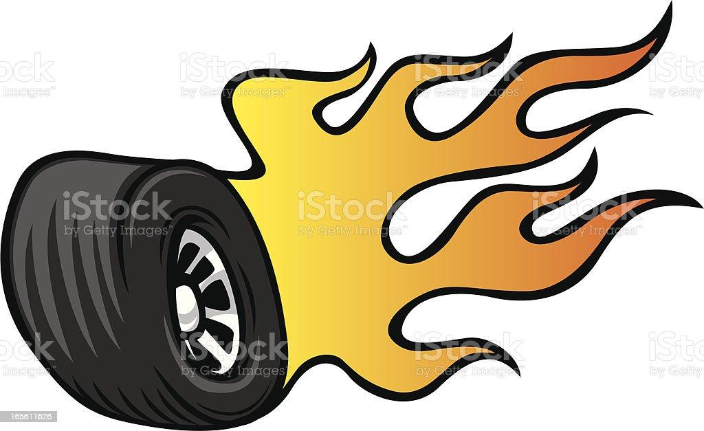 hot rod wheel vector art illustration