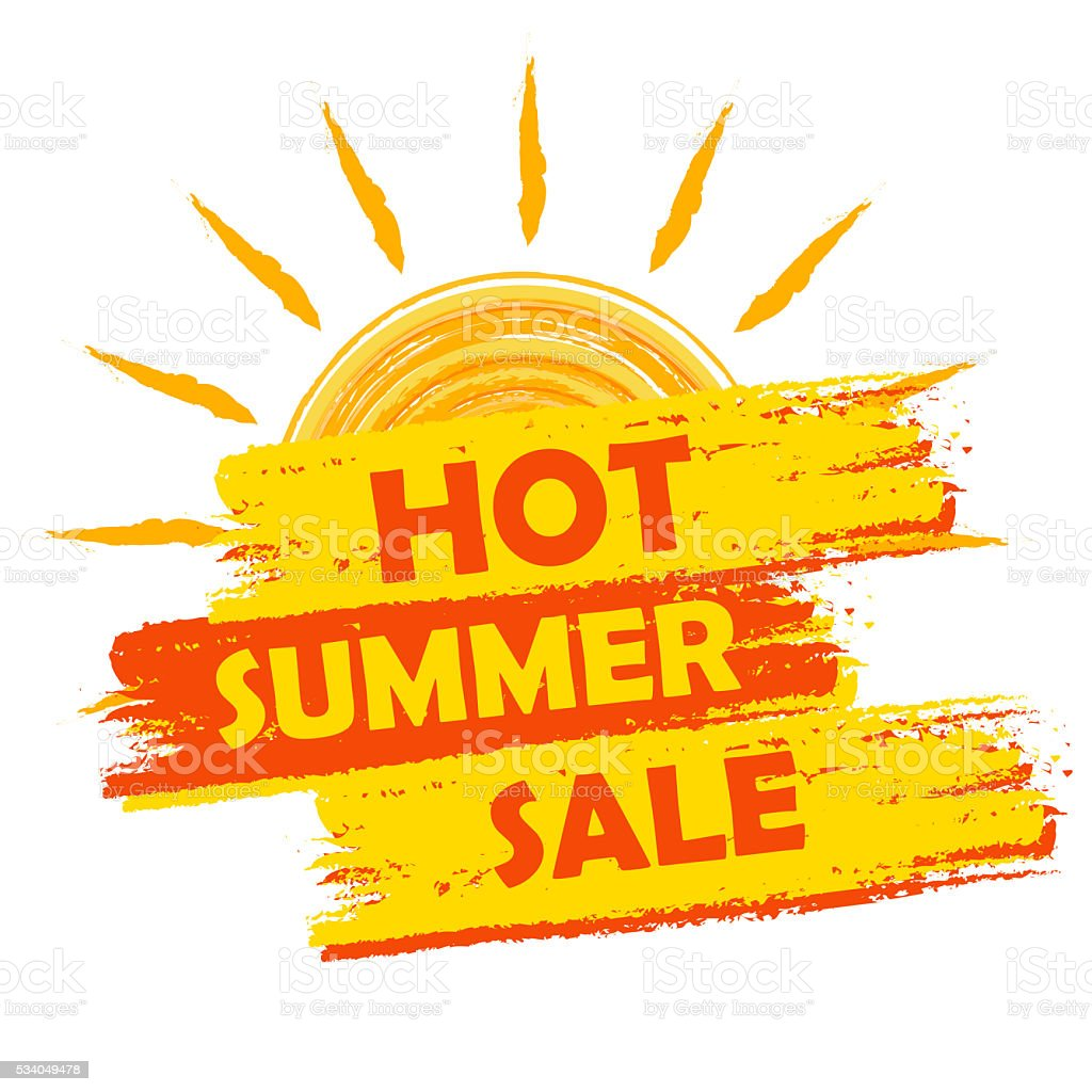 hot summer sale with sun sign, drawn label vector art illustration