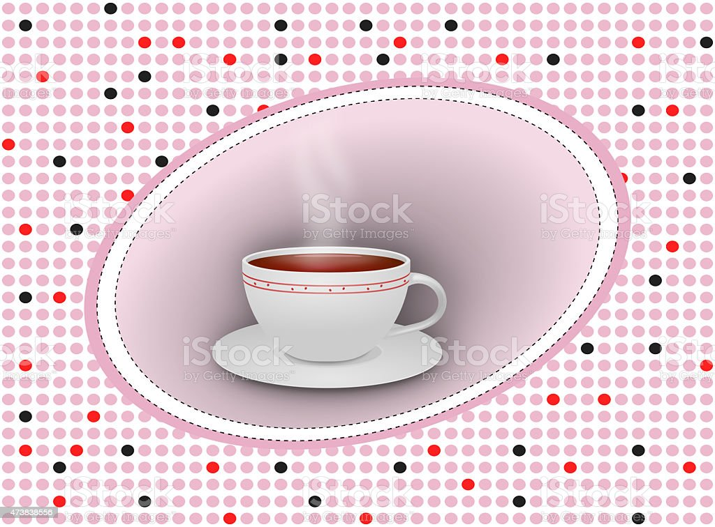 Hot tea cup with saucer on dotted background vector art illustration