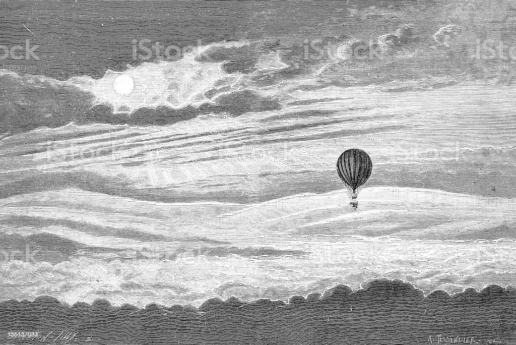 Hot-air baloon flight vector art illustration