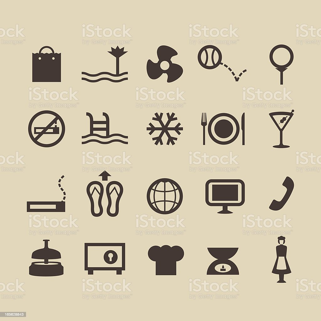 Hotel Amenities Icons royalty-free stock vector art