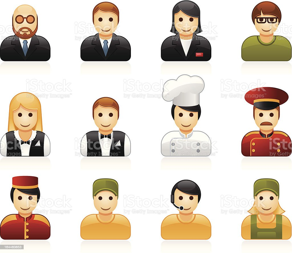 Hotel and restaurant staff icons royalty-free stock vector art