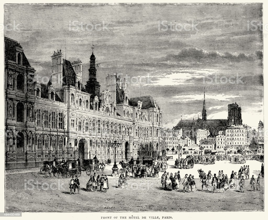 Hotel De Ville, Paris, France, 19th Century vector art illustration