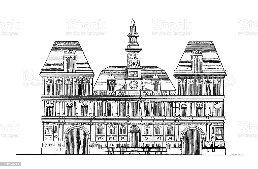 Hotel de Ville, Paris, France | Antique Architectural Illustrations vector art illustration