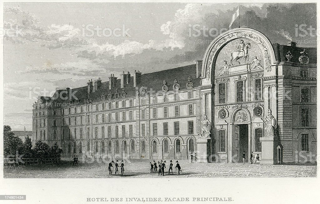 Hotel Des Invalides, Facade Principale royalty-free stock vector art