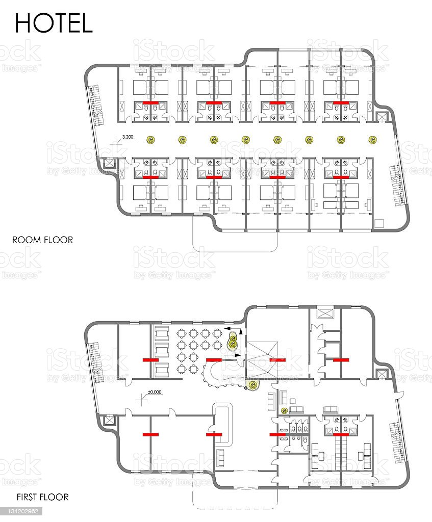 Hotel drawing plan vector art illustration