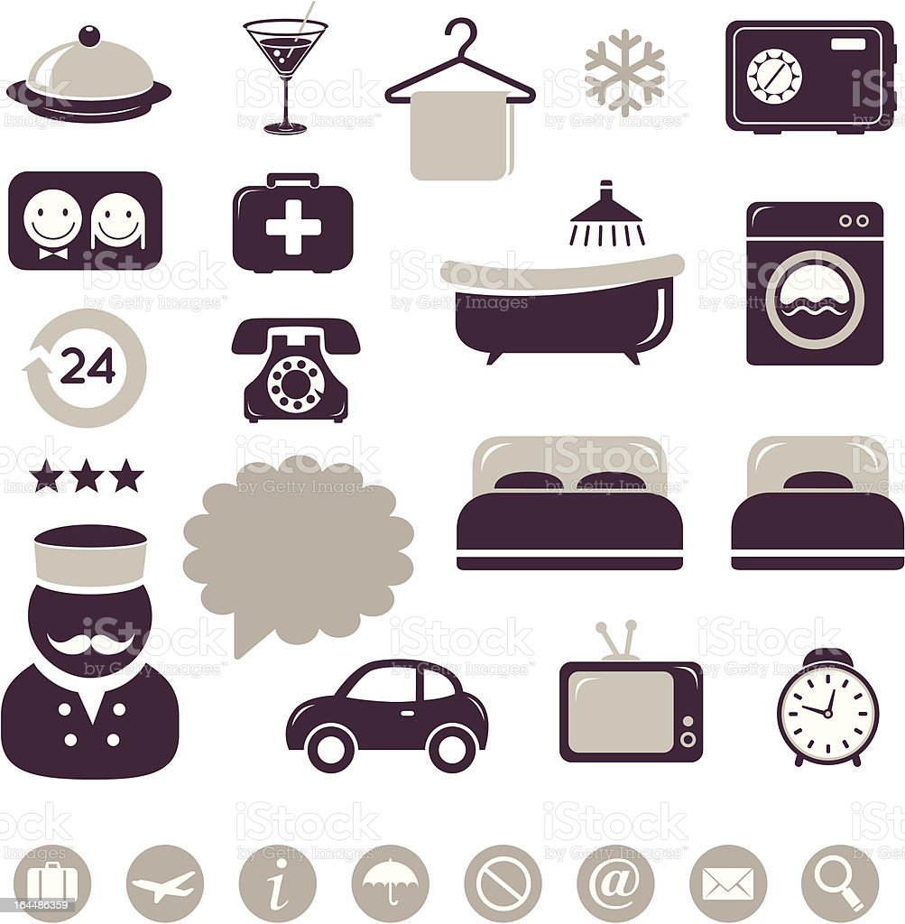 Hotel icons set royalty-free stock vector art