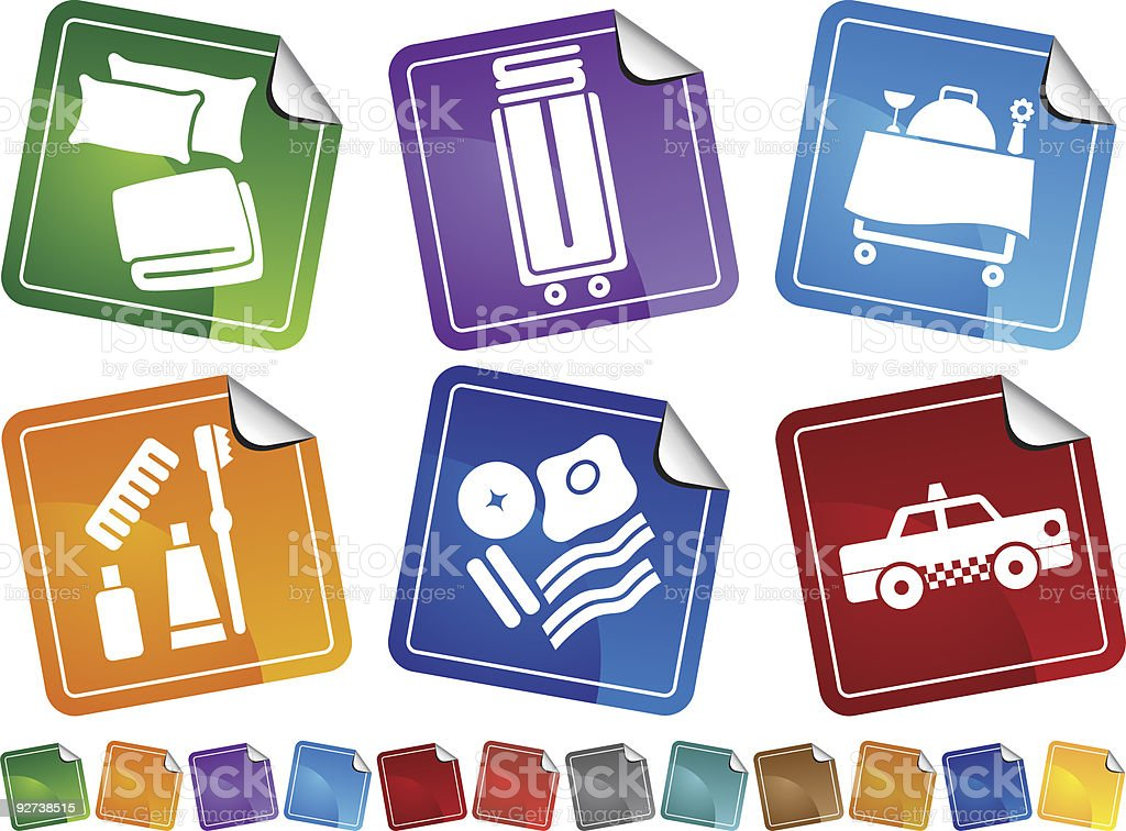 Hotel Item Stickers royalty-free stock vector art