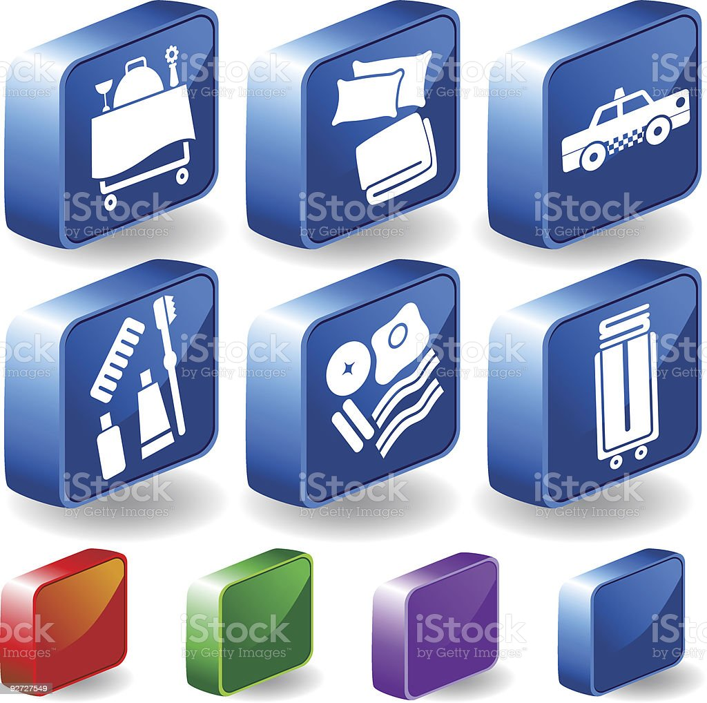 Hotel Items 3D royalty-free stock vector art