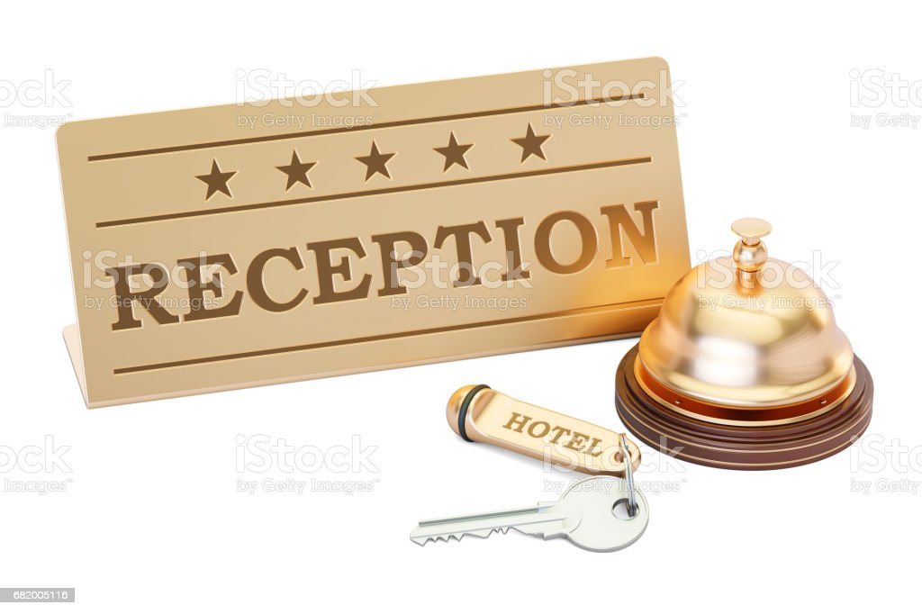 Hotel key and reception bell with reception plate, 3D rendering isolated on white background vector art illustration