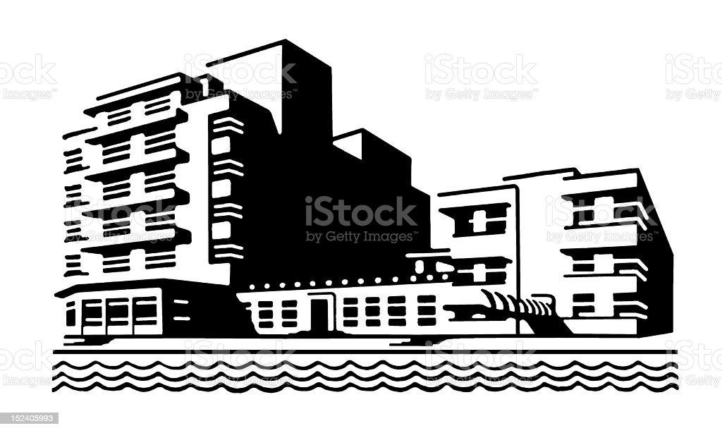 Hotel on Beach royalty-free stock vector art