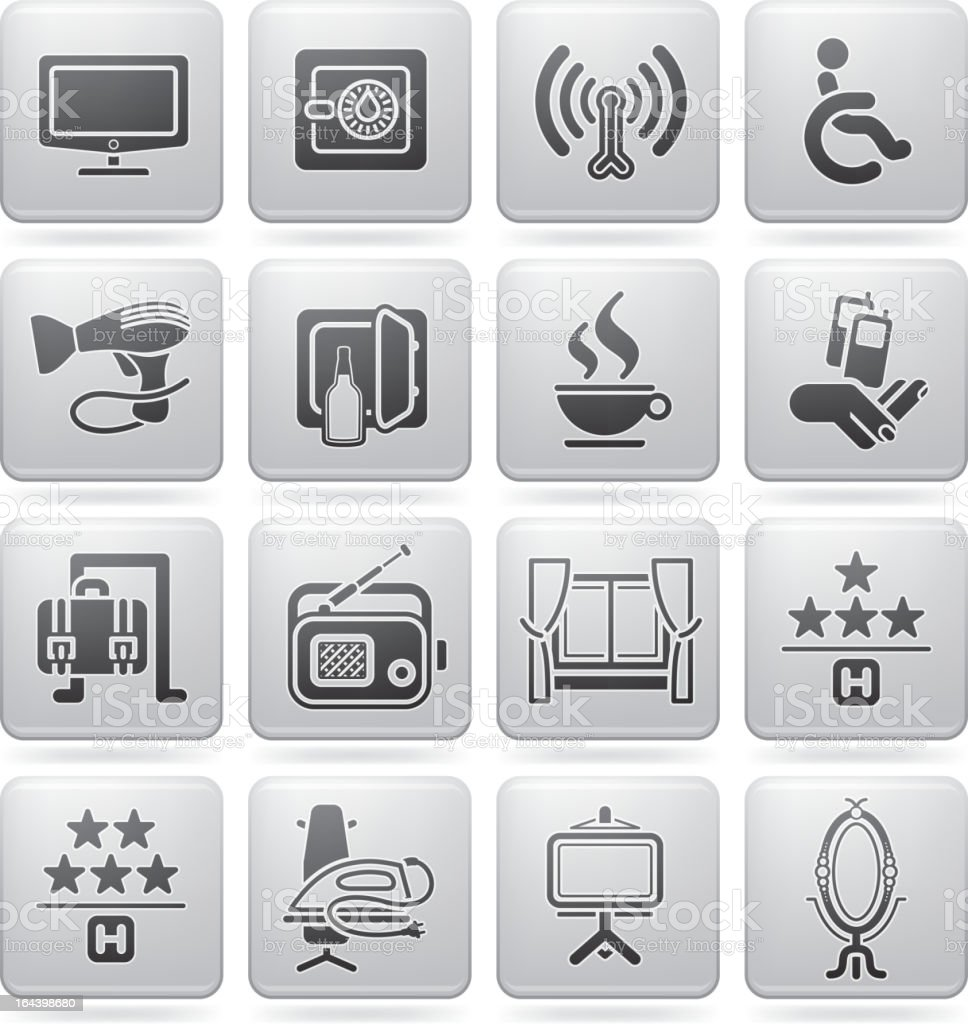 Hotel Related Icons vector art illustration