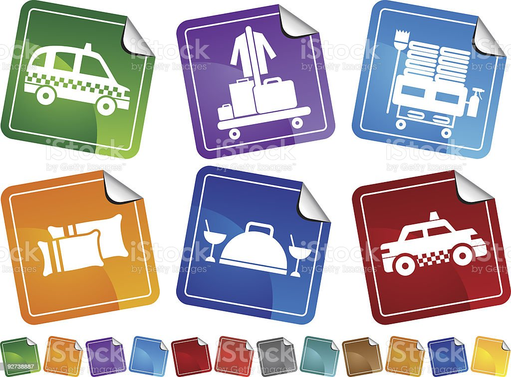 Hotel Service Stickers royalty-free stock vector art
