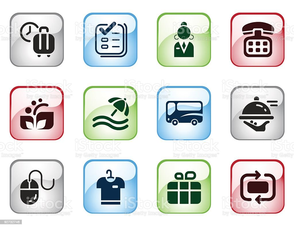 Hotel Themed Computer Icons with Glossy Effect royalty-free stock vector art