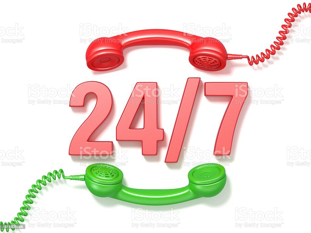 24 hours 7 days a week sign. Retro phone receivers vector art illustration