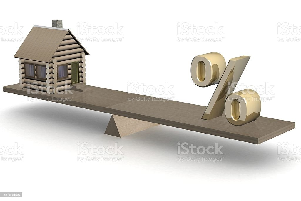 house and percent on scales. 3D image. vector art illustration