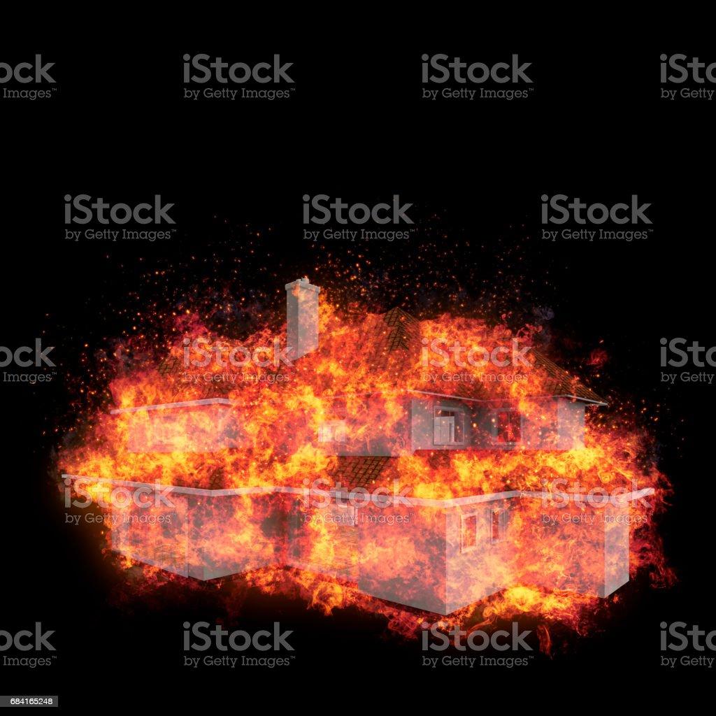 House bursted into flames against the black background. Real estate concept. 3d vector art illustration