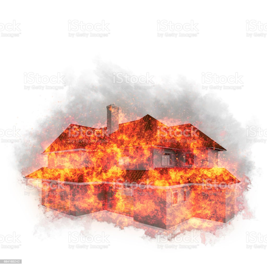 House bursted into flames against the white background. Real estate concept. 3d vector art illustration
