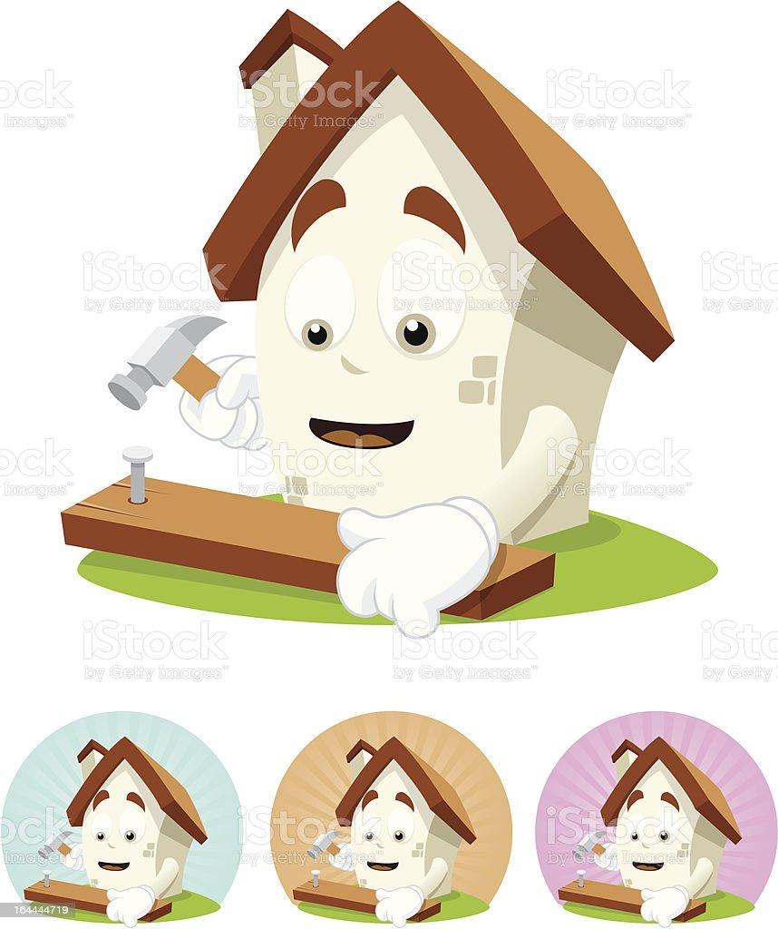 House Cartoon Mascot - nailing royalty-free stock vector art