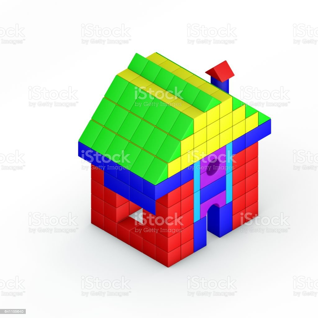 House from toy building blocks. 3D rendering illustration. Isometric view. vector art illustration