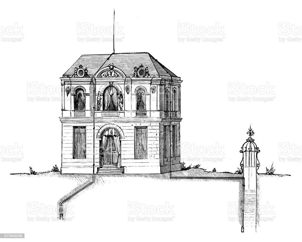 House grounding vector art illustration