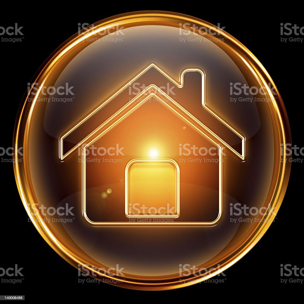 House icon gold, isolated on black background royalty-free stock vector art