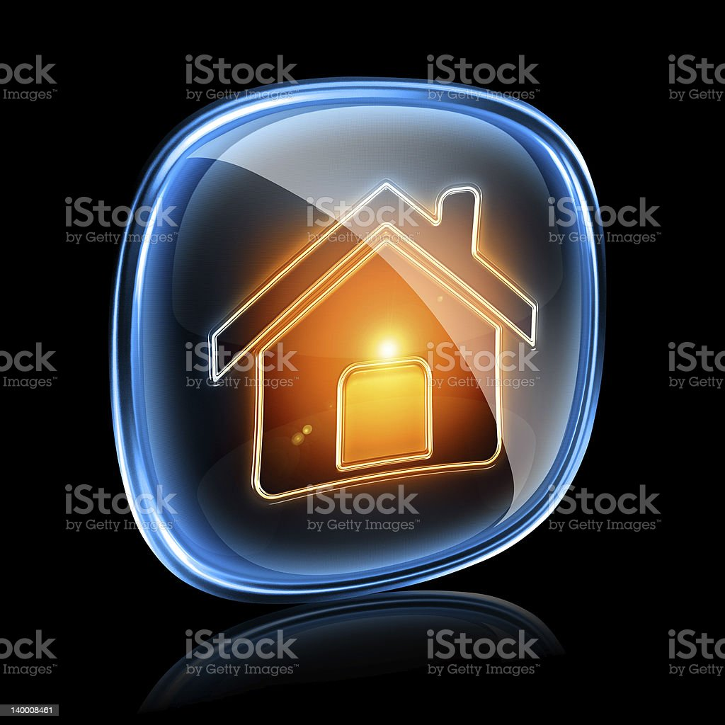 House icon neon, isolated on black background royalty-free stock vector art