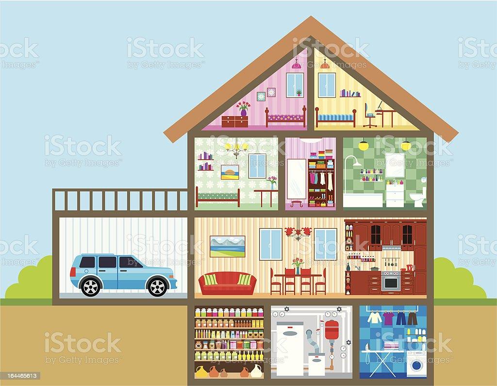 Maison dans une coupe stock vecteur libres de droits for Plan de coupe d une maison