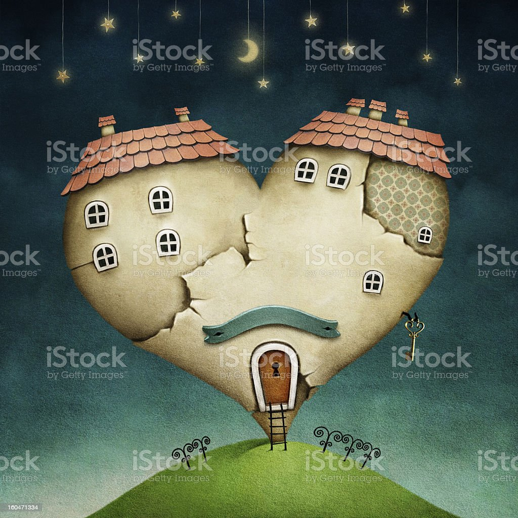 House in form of heart vector art illustration