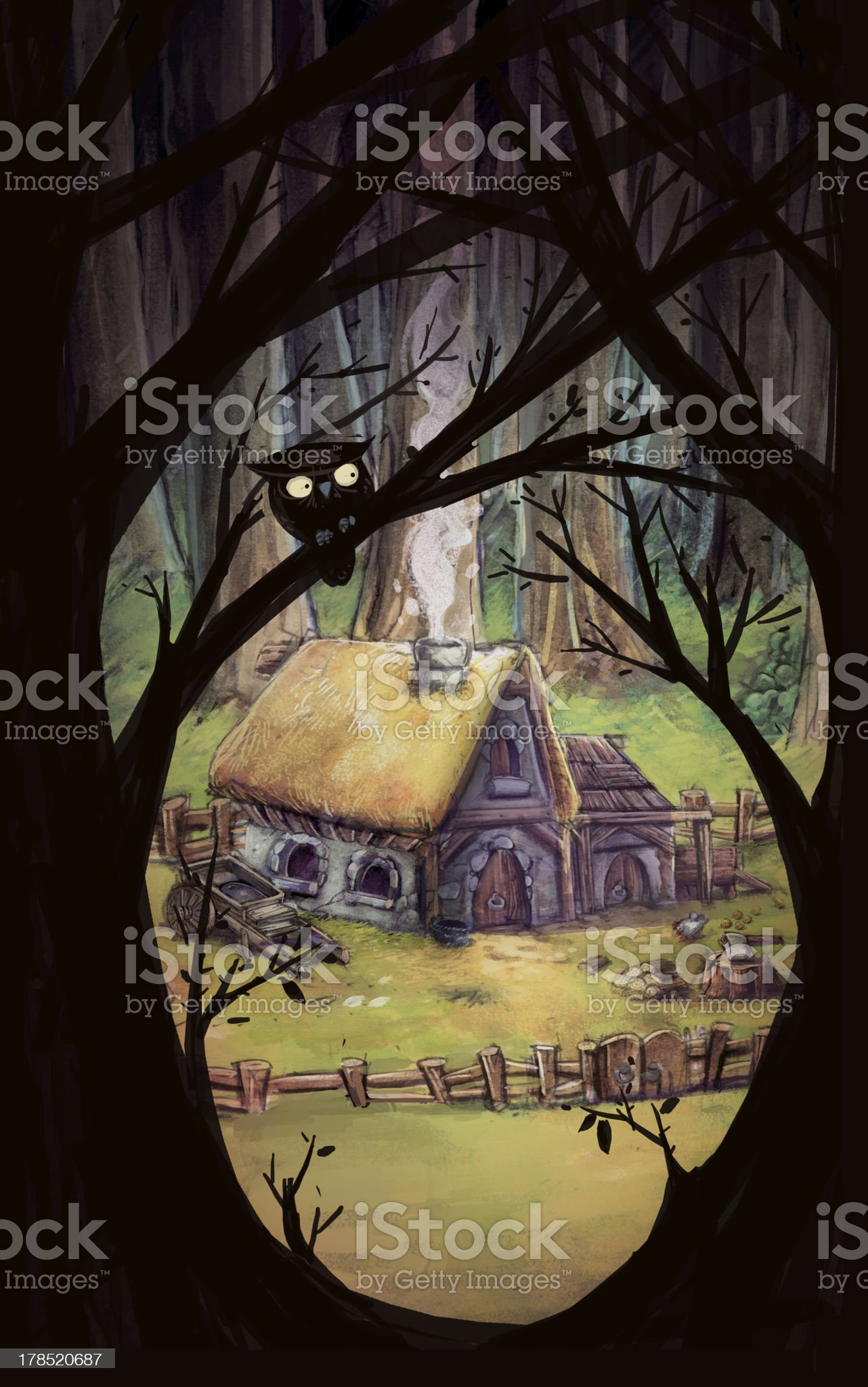 House in the Forest royalty-free stock vector art