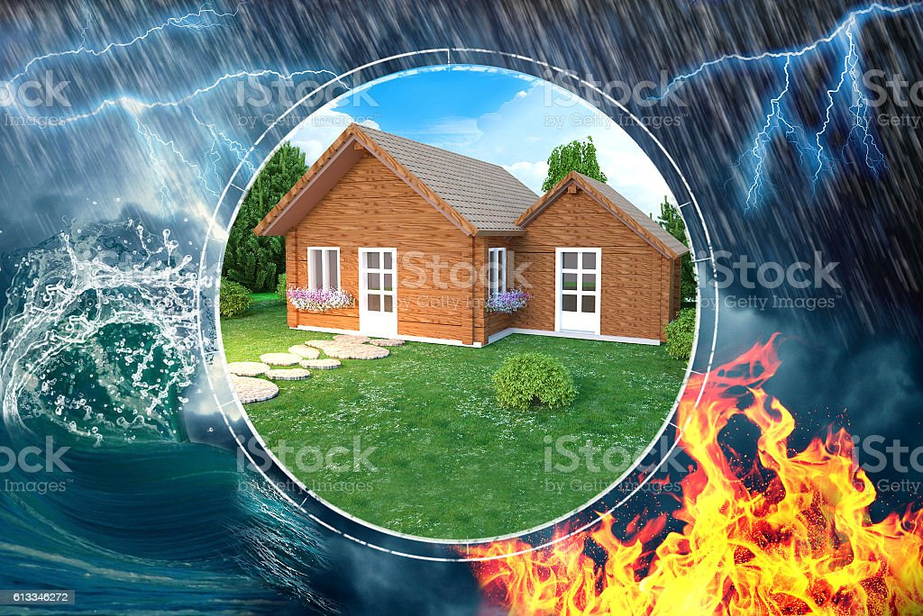 House insurance against damage and disaster vector art illustration