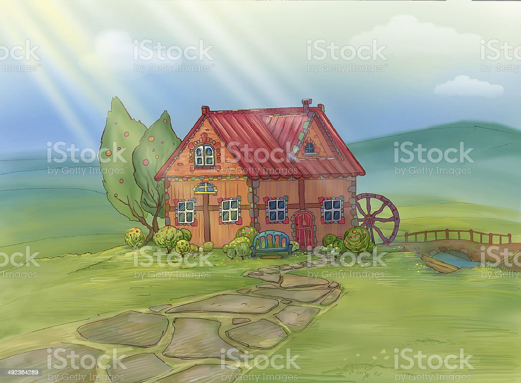 House. Mill. Beautiful house on the nature vector art illustration