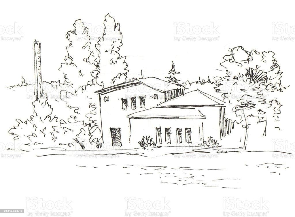 House on river. Nature landscape. Cottage on lake bank in forest. Ink sketch vector art illustration