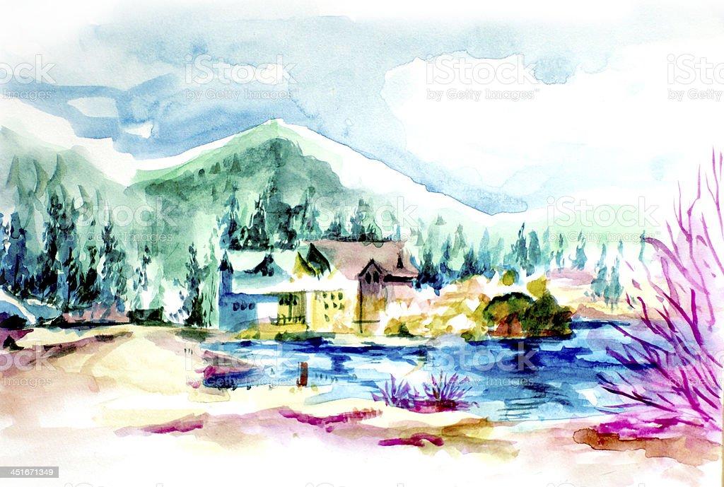 House resort by the lake in mountain illustration vector art illustration