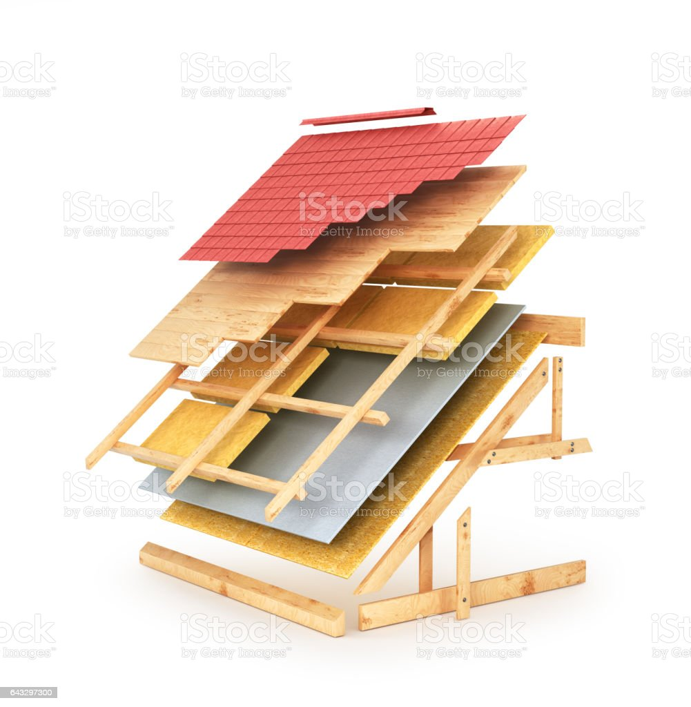 House roofing technical details. vector art illustration