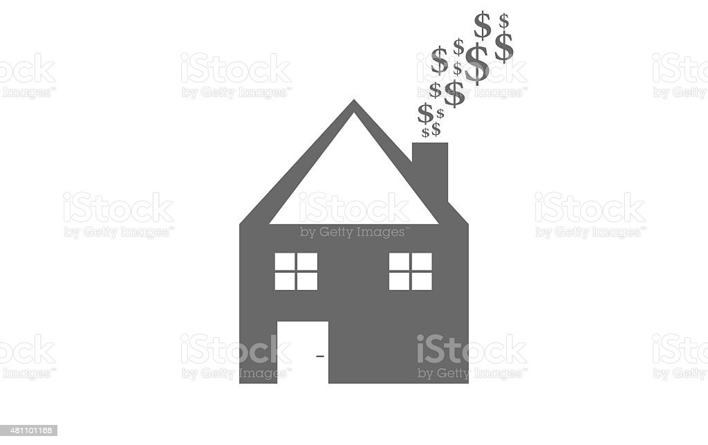House Shape with Dollar Smoke vector art illustration