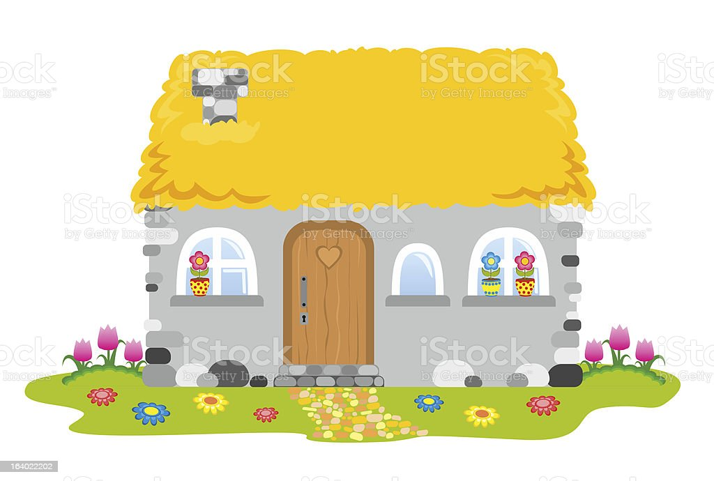 House with a straw roof royalty-free stock vector art