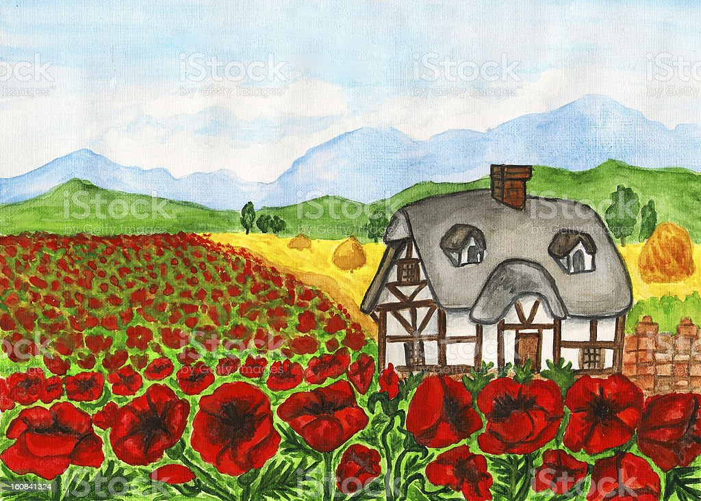 House with red poppies, painting royalty-free stock vector art