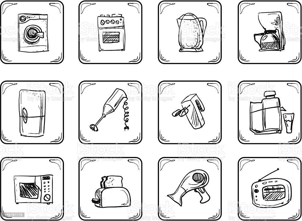 Household equipment icons. vector art illustration