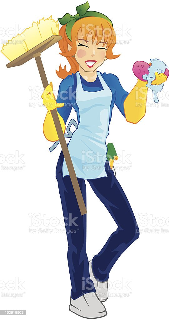 Housekeeping Girl royalty-free stock vector art