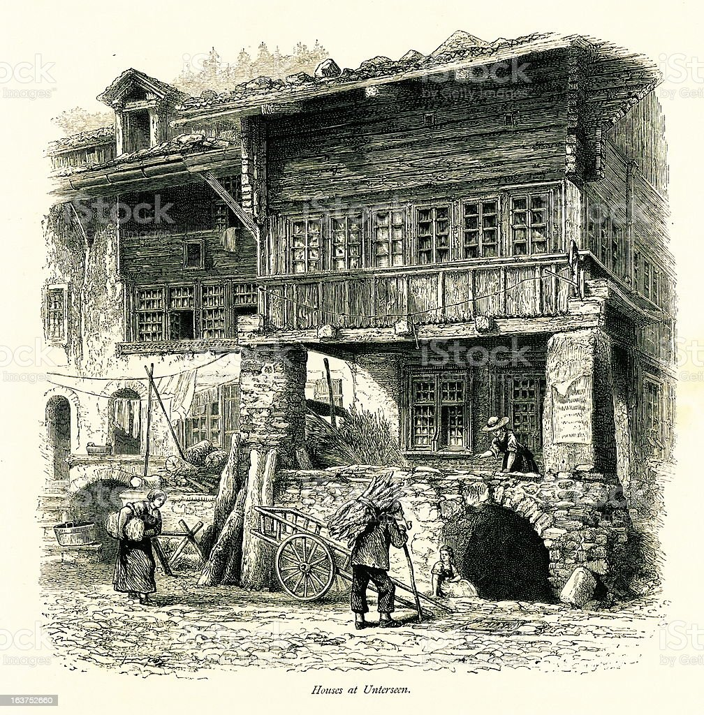 Houses at Unterseen, Switzerland I Antique European Illustrations royalty-free stock vector art